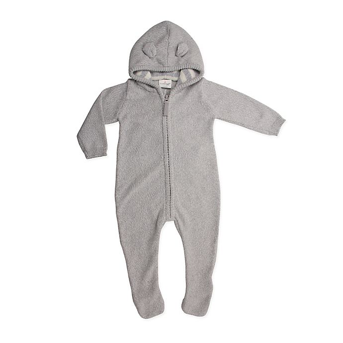 Cuddle Duds 174 Knit Hooded Footie In Grey Buybuy Baby