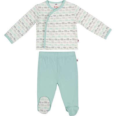 E=MC²™ 2-Piece Mint Elephants Magnetic Pajama Set