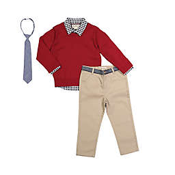 Beetle & Thread 4-Piece Gingham Sweater, Shirt, Pant, and Tie Set in Red/Navy