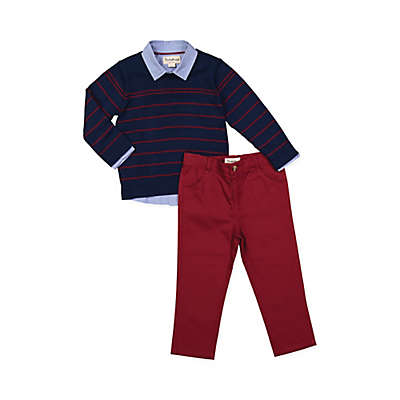 Beetle & Thread 3-Piece Sweater, Pants, and Shirt Set in Navy
