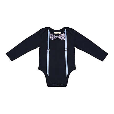 Beetle & Thread Shirtzie with Bow Tie and Suspenders in Navy