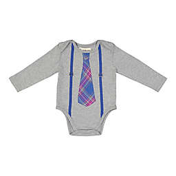 Beetle & Thread Shirtzie with Plaid Tie and Suspenders in Grey