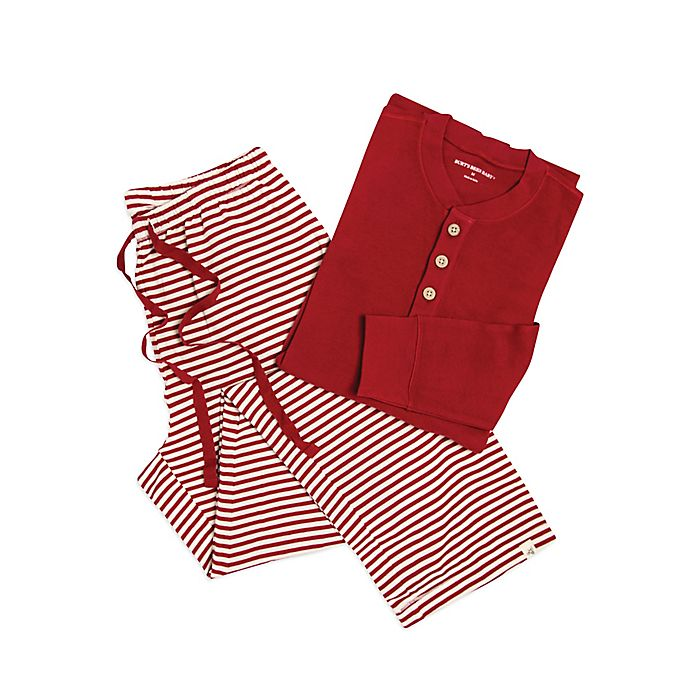 3863ec221 Burt's Bees Baby® Men's 2-Piece Candy Cane Stripe Holiday Pajama Set in Red