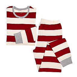 Burt's Bees Baby® Women's 2-Piece Rugby Stripe Holiday Pajama Set in Red