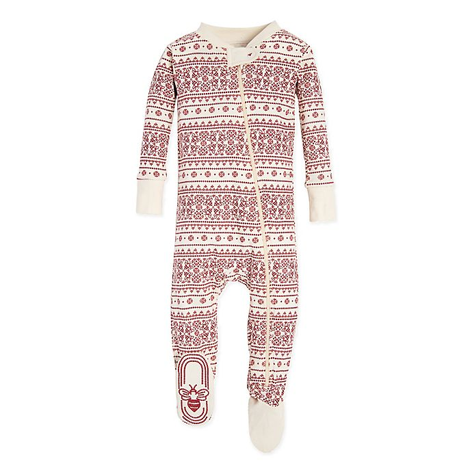 Alternate image 1 for Burt's Bees Baby® Fair Isle Footie in Red/Ivory