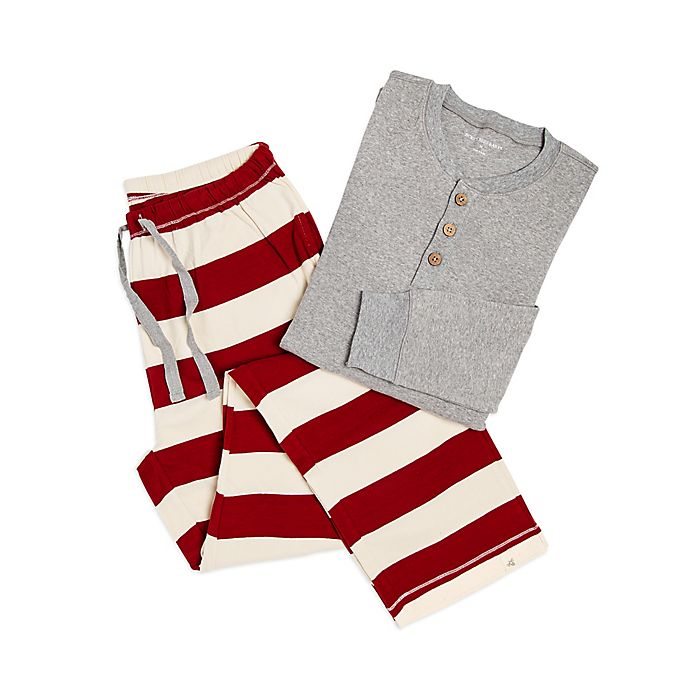 00d11c082 Burt's Bees Baby® Men's 2-Piece Rugby Stripe Holiday Pajama Set in Red