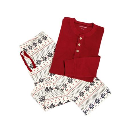 e9db574d7cfd Burt s Bees Baby® Men s 2-Piece Snowflake Holiday Pajama Set in Red ...