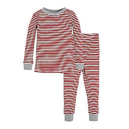 Burt's Bees Baby® 2-Piece Candy Cane Stripe Holiday Pajama Set in Red/Ivory