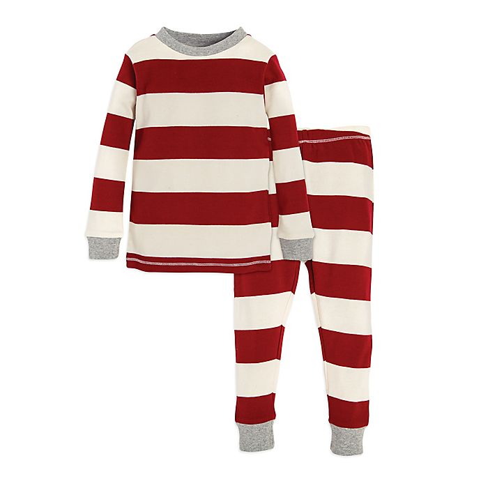 Alternate image 1 for Burt's Bees Baby® 2-Piece Rugby Stripe Holiday Pajama Set in Red/Ivory