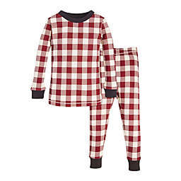 Burt s Bees Baby® 2-Piece Buffalo Check Holiday Pajama Set in Red Ivory 96fcb0c04