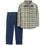 carter's® 6M 2-Piece Plaid Shirt and Jeans Set