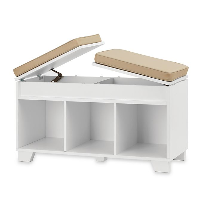 Real Simple 174 3 Cube Split Top Storage Bench In White Bed