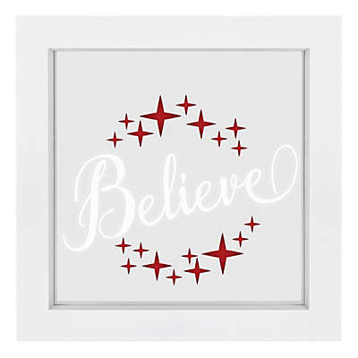 """Believe"" Illuminated LED 9.5-Inch Square Wall Art"