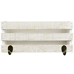Functional Wood Ledge with Hooks Wall Art in Distressed White
