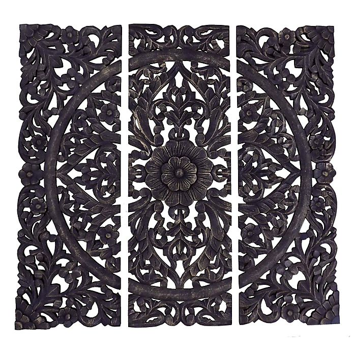 Alternate image 1 for Triptych Hand Carved Square Wall Plaque