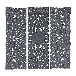 Triptych Hand Carved Square Wall Plaque in Grey