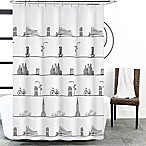 NYC Skyline Shower Curtain in White