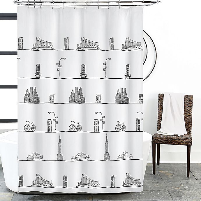 Alternate image 1 for NYC Skyline Shower Curtain in White