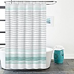 Gallery Stripe Shower Curtain in White/Teal