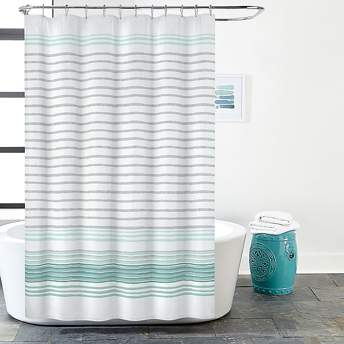 Alternate image 1 for Gallery Stripe Shower Curtain in White/Teal