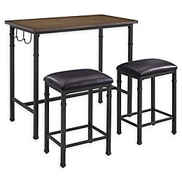 Linon Home 3-Piece Pub Set in Black/Brown