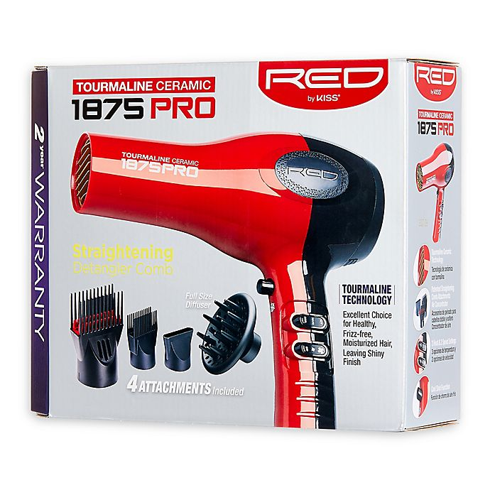 Alternate image 1 for Kiss® Ceramic Tourmaline Hair Dryer in Red