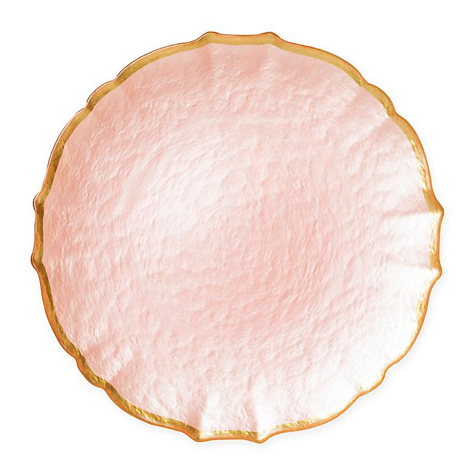 Alternate image 1 for viva by VIETRI Pastel Glass Charger Plate in Pink