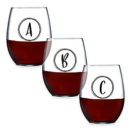 Novelty Monogrammed Stemless Wine Glass