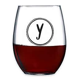 "Novelty Monogrammed Letter ""Y"" Stemless Wine Glass"