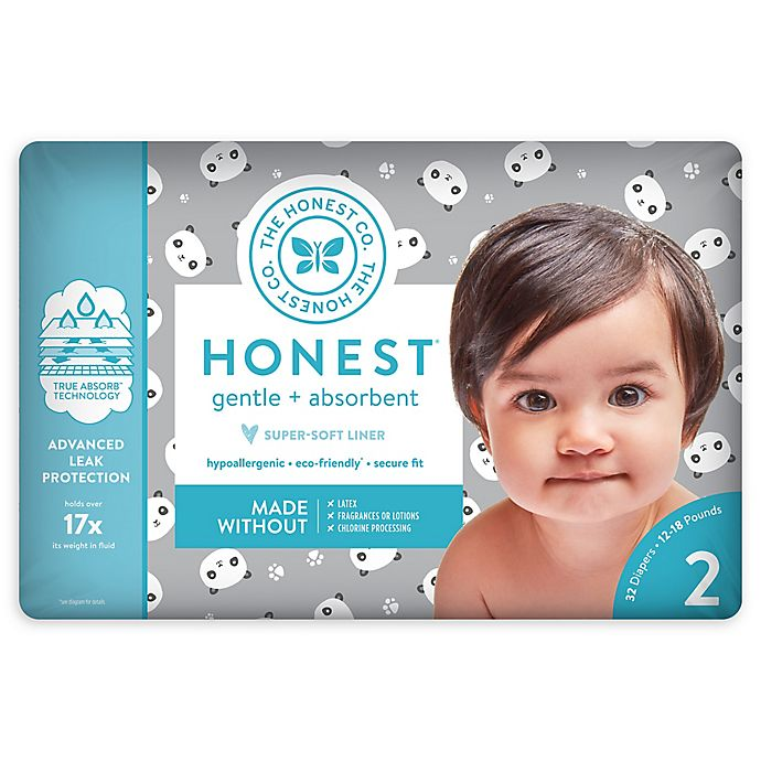 Alternate image 1 for The Honest Company® Size 2 32-Count Disposable Diapers in Panda Pattern