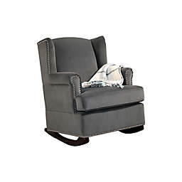 Abbyson Living® Hunter Velvet Wingback Rocking Chair in Charcoal Grey