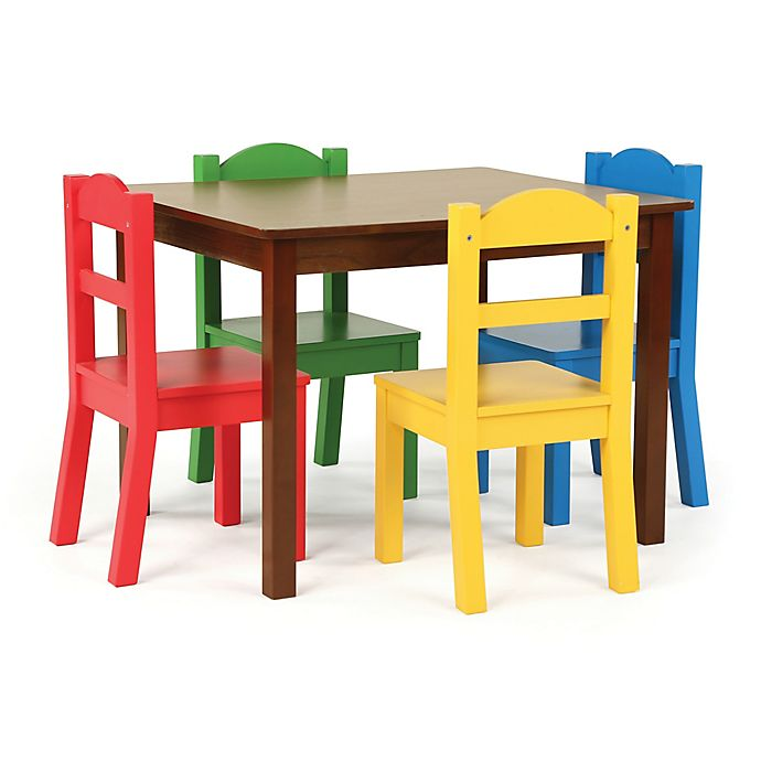 Alternate image 1 for Tot Tutors 5-Piece Wooden Table and Chairs Set in Dark Walnut/Primary