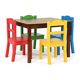 Tot Tutors 5-Piece Wooden Table and Chairs Set in Dark Walnut/Primary