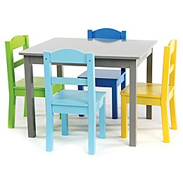 Tot Tutors Elements 5-Piece Table and Chairs Set in Grey/Multi