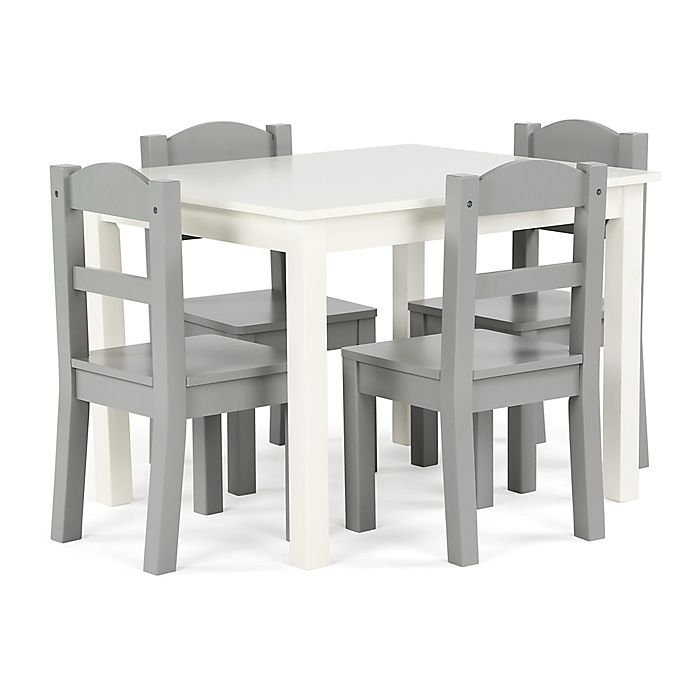 Alternate image 1 for Tot Tutors 5-Piece Wooden Table and Chairs Set in White/Grey