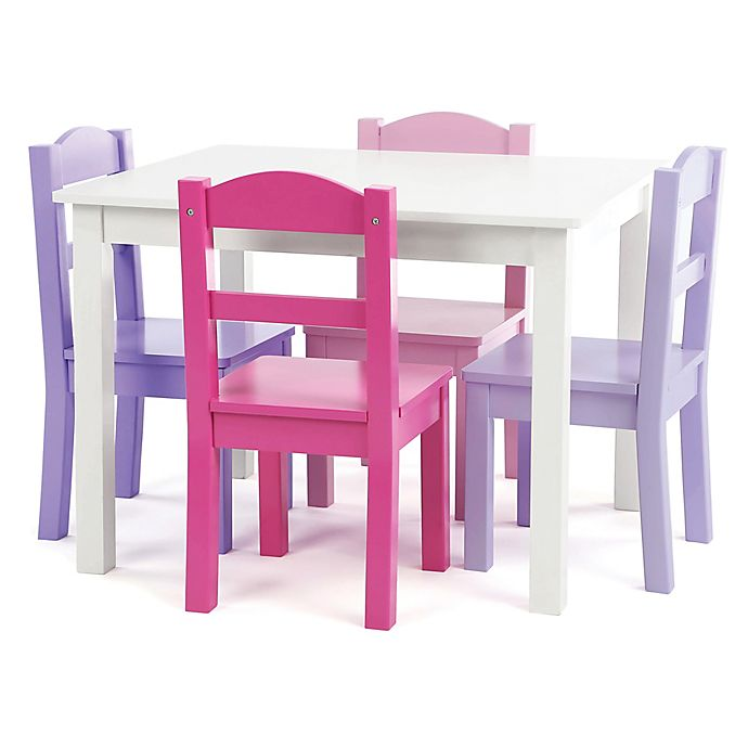 Alternate image 1 for Tot Tutors 5-Piece Wooden Table and Chairs Set in White/Purple/Pink