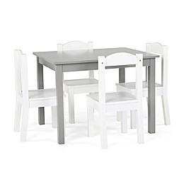 Tot Tutors 5-Piece Wooden Table and Chairs Set in Grey/White