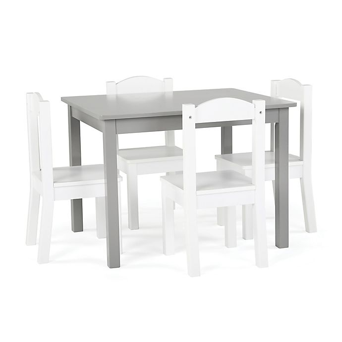 Alternate image 1 for Tot Tutors 5-Piece Wooden Table and Chairs Set in Grey/White
