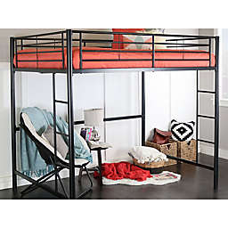 Forest Gate Riley Full Size Metal Loft Bed in Black