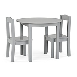 Tot Tutors Inspire 3-Piece Round Table and Chairs Set in Grey