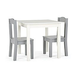 Tot Tutors 3-Piece Square Table and Chairs Set in White/Grey
