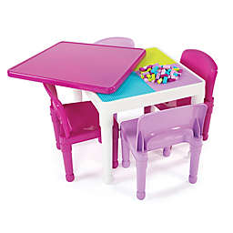 Tot Tutors 2-in-1 LEGO®-Compatible Construction Table with 4 Chairs in Purple/Pink