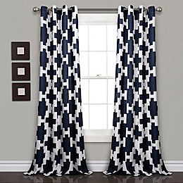 Wellow Ikat 84-Inch Grommet Room Darkening Window Curtain Panel Pair