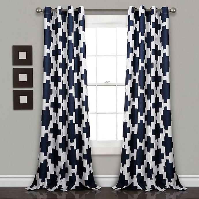 Alternate image 1 for Lush Décor Wellow Ikat 84-Inch Grommet Room Darkening Window Curtain Panel Pair