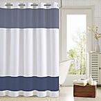 Hookless® Aruba Pleats Color Block Shower Curtain in White/Navy