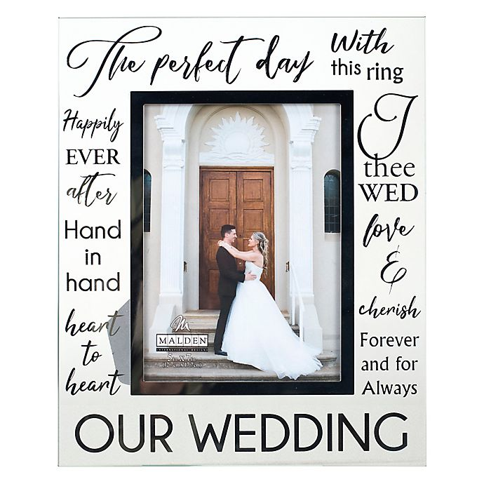 Alternate image 1 for Malden® 5-Inch x 7-Inch Glass with Silver Foil Wedding Frame