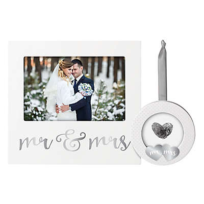 Pearhead 2-Piece Mr. & Mrs. Frame and Ornament Set