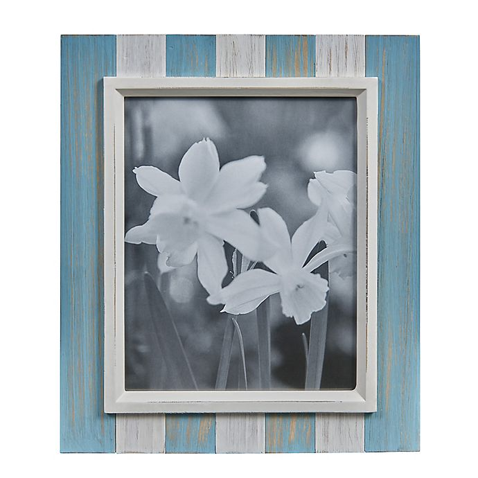 Alternate image 1 for Danya B.™ 8-Inch x 10-Inch Wood Plank Picture Frame in Distressed Blue/Grey/White
