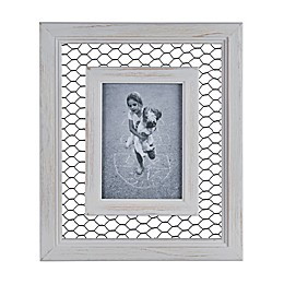 Danya B.™ 5-Inch x 7-Inch Chicken Wire Whitewash Wood Picture Frame
