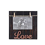 "Danya B.™ 4-Inch x 6-Inch ""Love"" Wood Block Picture Frame in Brown"